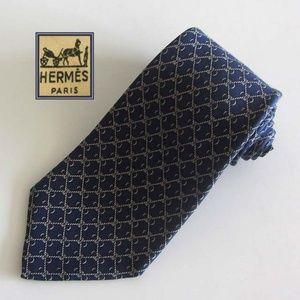 HERMES blue/white rope link pattern tie 100% silk